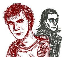 R and Loki by InvisibleCorpseGirl