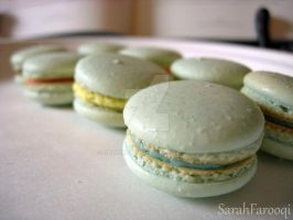 Small Blue Macarons by sadiekate