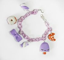 Violet fimo bracelet with lovely charms by Shizuru117