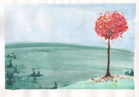 Pink Watercolour tree by Avalon620