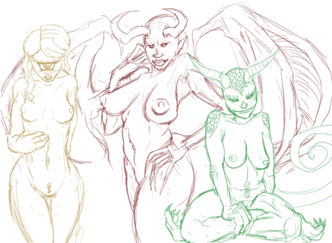 Monster Girl Sketches by MessiahxComplex