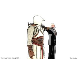 Altair and Agent 47 by One-Handed-Arts