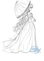 Lineart of a Lady by CorinnaFaye