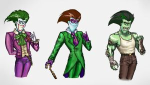Joker ,Riddler, Killer Croc by HalfDeadDreamer