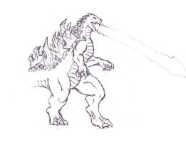 Godzilla in pencil by center64
