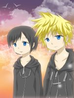 KH- Roxas and Xion's Sunset by mihiru-chan