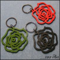 Wooden Rose Key Chains by 1337-Art