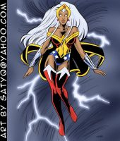 Amazon- Wonder Woman/Storm Amalgam Comics mash-up by SatyQ