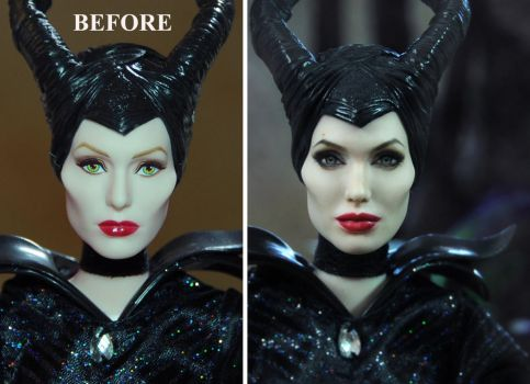 Angelina Jolie Maleficent Doll Repaint - Noel Cruz by noeling