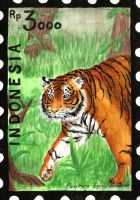 Indonesia Stamp Set - Sumatran Tiger by aconite-pawlove