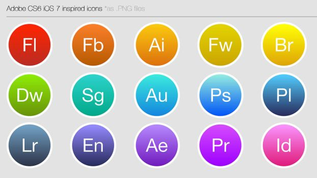 iOS 7 inspired CS6 icons by Ohsneezeme