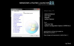 Windows Utilities Launcher 2.1 by ShraOne