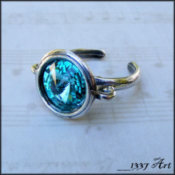 Light Turquoise Crystal Ring by 1337-Art