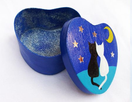 Cats in Love - Painted Heart Shaped Box by LaVolpeCimina