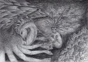 Dryad and her dragon by Eeja