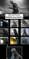 Top 10 Godzilla's Designs by MarioStrikerMurphy