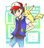 Ash and Pikachu by firehorse6