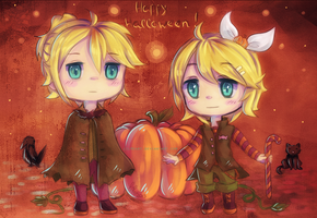 Happy Halloween - Rin and Len by LilHeart