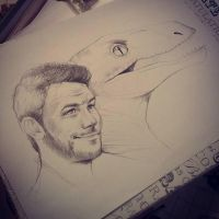 Owen and Velociraptor Sketch by JuliaFox90