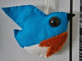 Bluebird - handstitched felt ornament by InkyDreamz