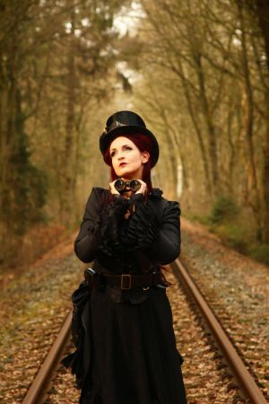 Stock - Steampunk looking glass smile woman by S-T-A-R-gazer