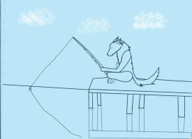 fishing wolf by ink-of-wolf