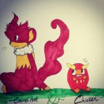 Cardinal and Chicken by SelenaHedgehog123