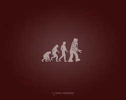 Robot Evolution Denim Wallpaper in Red by averywebdesign