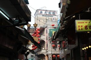 Macau alley with balloons by geoffreypeeters