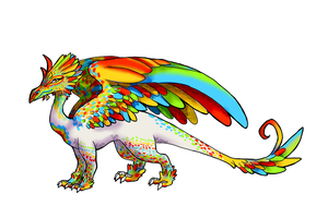 Rainbowy Feather Dragon by Trinosaur