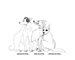 Three wise dogs by Lilinera