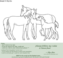 horse family lineart by shy-fox