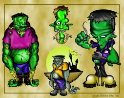 Frankenstein Tattoo Flash 6 by BeeJayDeL