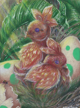 Pokemon - Newly Hatched Torchics by Ducks-with-Crayons