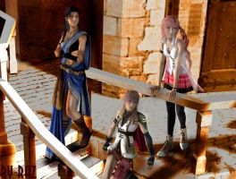 Fang, Lightning and Serah by RazKurdt
