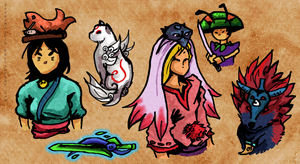 Okami character doodles by lycanthropeful