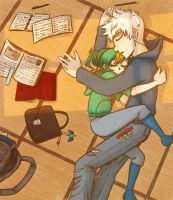 RotG AU - Jack Frost and (human) Baby Tooth by Cheshire-no-Neko