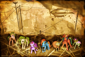 MLP FIM: Commission - Steampunk ponies by hinoraito