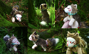 SOLD Masked kitsune Forest spirit plush by goiku