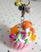 Orange mushroom cupcake charm by The-Cute-Storm
