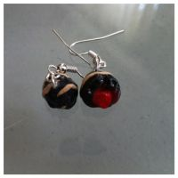Chocolate cherry truffle earrings by TheVisualStorm