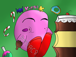 Kirby in candy paradise by HyperactiveChaosgirl