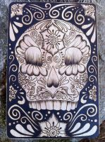 Sugar Skull Cutting Board - Pyrography on Wood by parizadhe