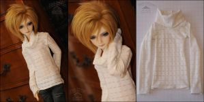 White Striped See-through Cowl Neck by kuroi-carousel