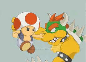 Toad vs Koopa by GoreChick