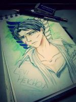Coloured pencil Levi by FunnyScared