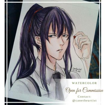 Kanda Yu- D. Gray Man (Watercolor) by Cane-the-artist