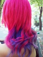 My NEW Pink + Blue = Purple Hair by LoveAsia