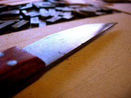 Light on knife by bittered