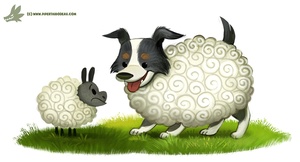 Daily Paint #1176. Sheepdog by Cryptid-Creations